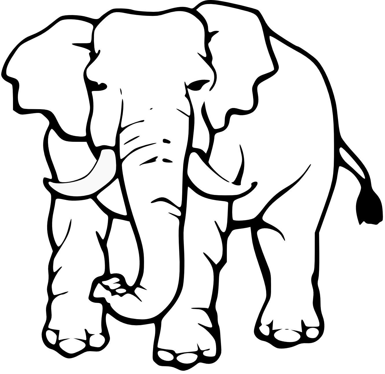 Drawing elephants black and white. Collection of elephant