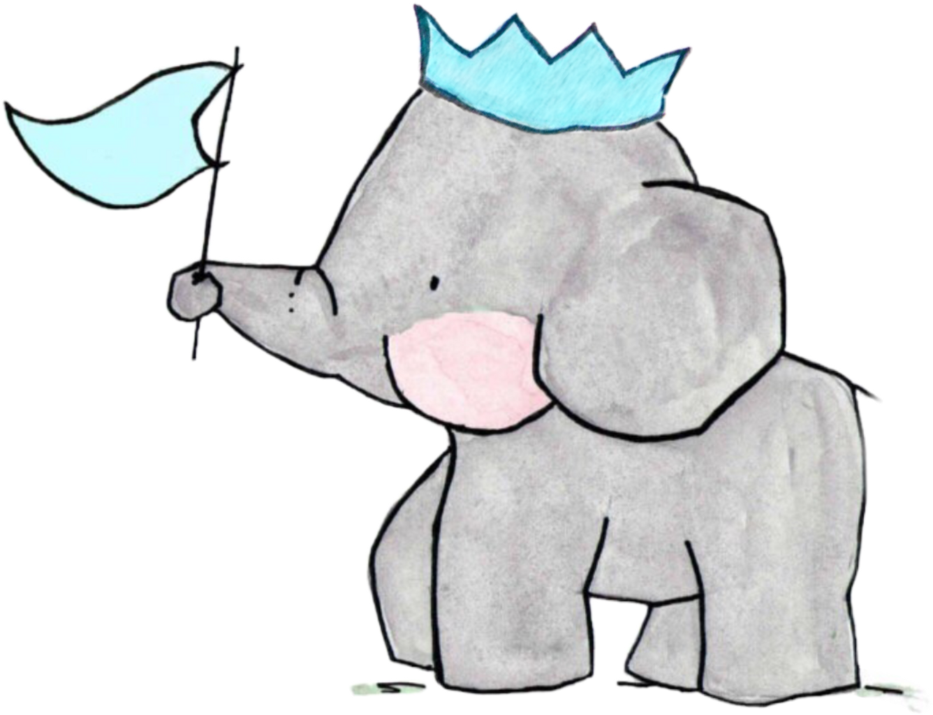Drawing elephants family. Elephant crown sticker by