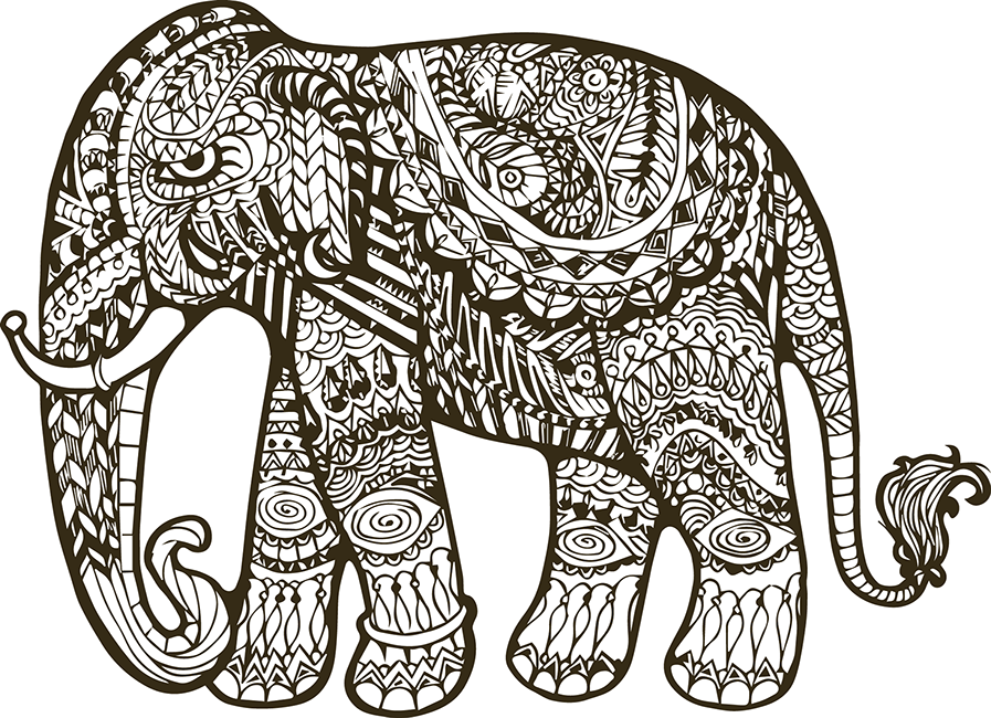 Chucky vector svg. Elephant indian drawing at