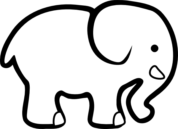 Animals printable coloring pages. Elephant clip art easy picture stock