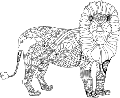 Drawing lions figure. Elephants lion african elephant