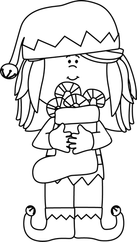 Drawing elves black and white. Girl christmas elf