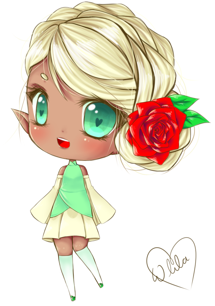 Elegant drawing elf. Chibi by waywardlila on