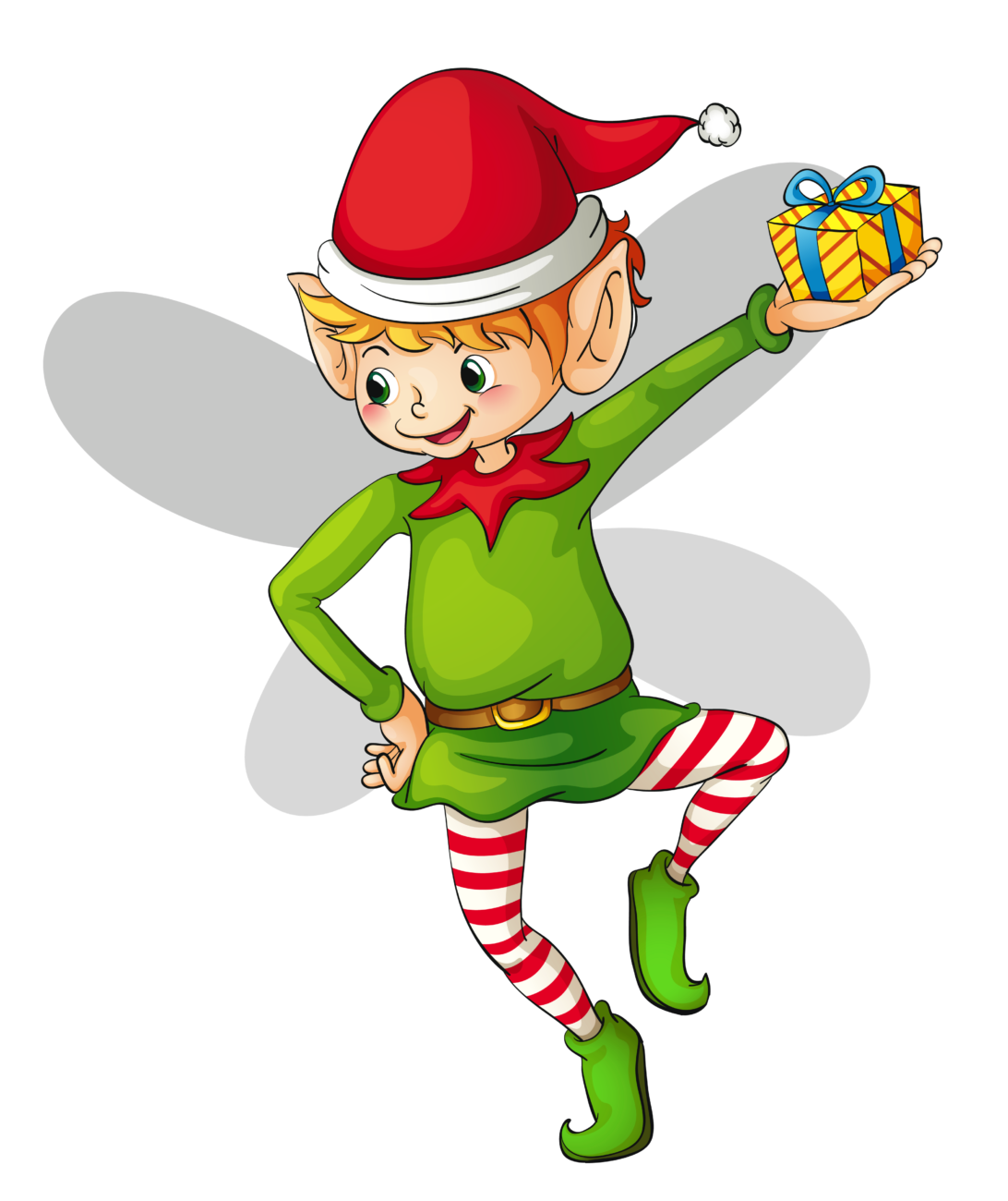 Elf transparent worker. Cute christmas clipart at