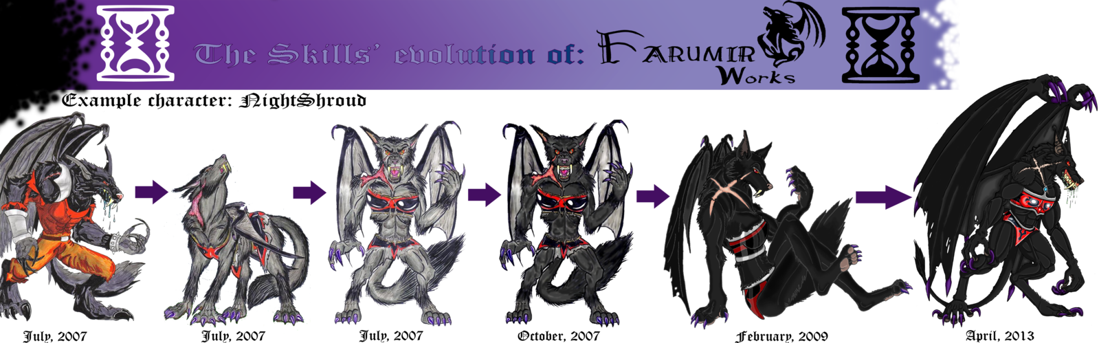 Drawing evolution skills. The of farumirworks by