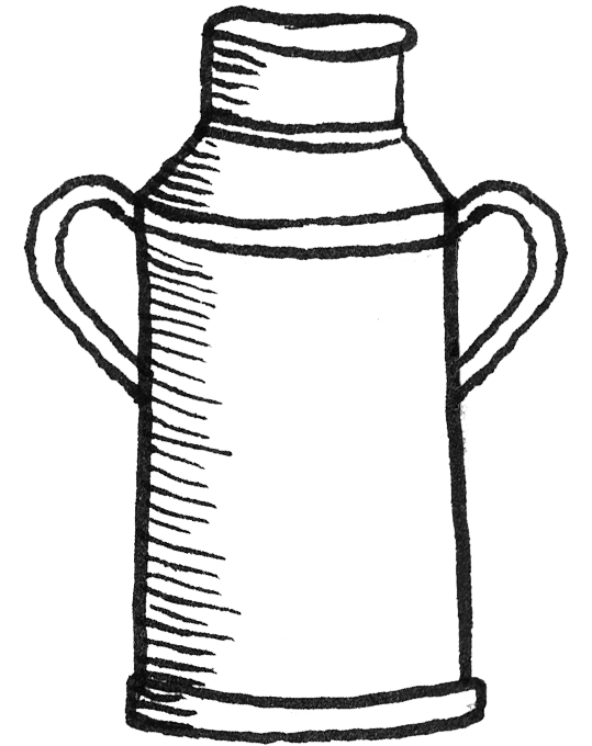 Milk churn rora dairy. Drawing facts royalty free download