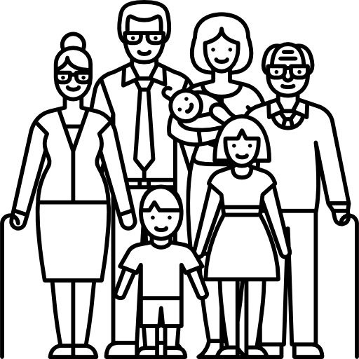 Drawing family person. Big free people icons