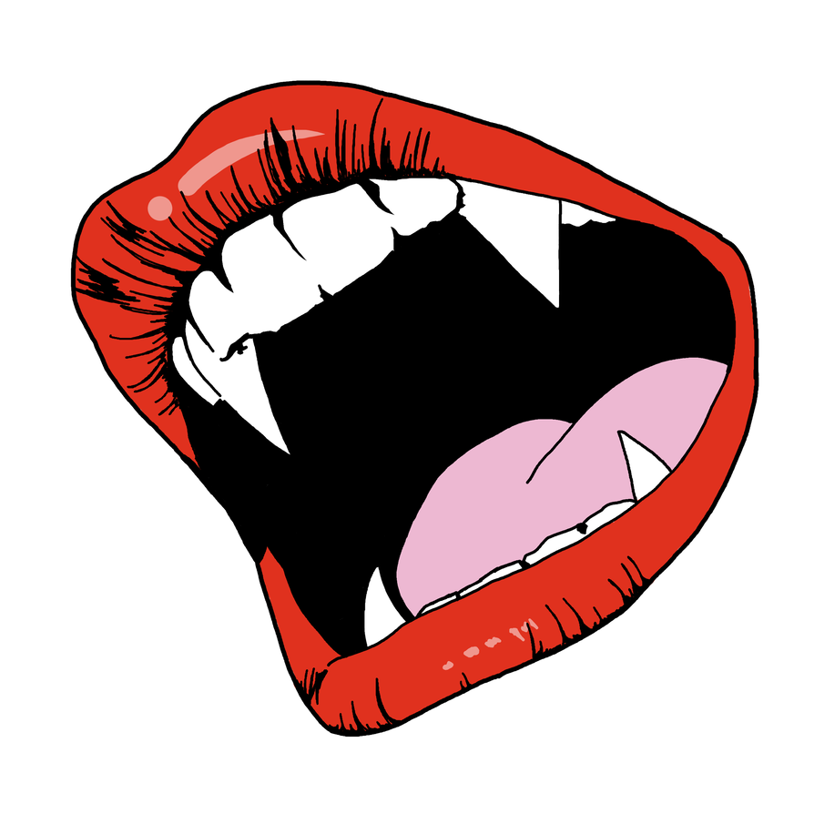 Drawing fangs. Outline plastic vampire clipart