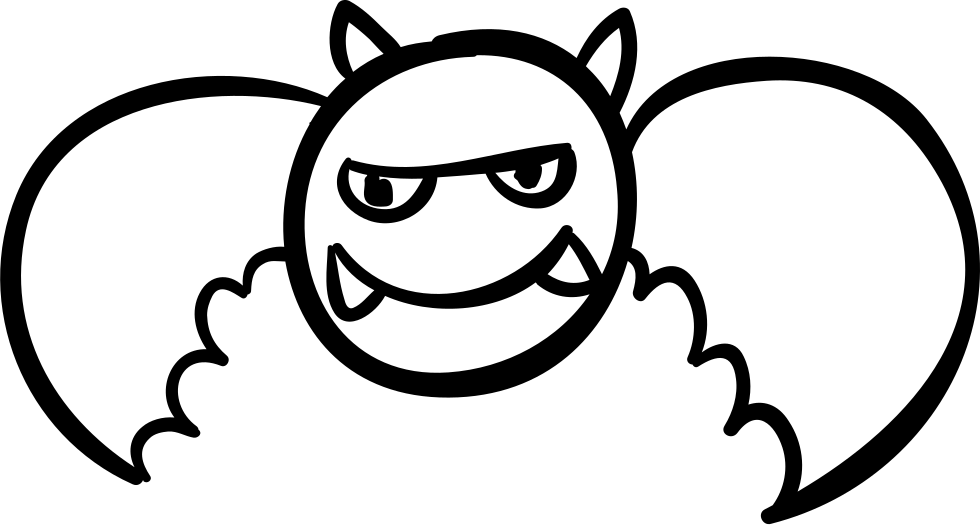 Drawing fangs. Halloween winged monster with