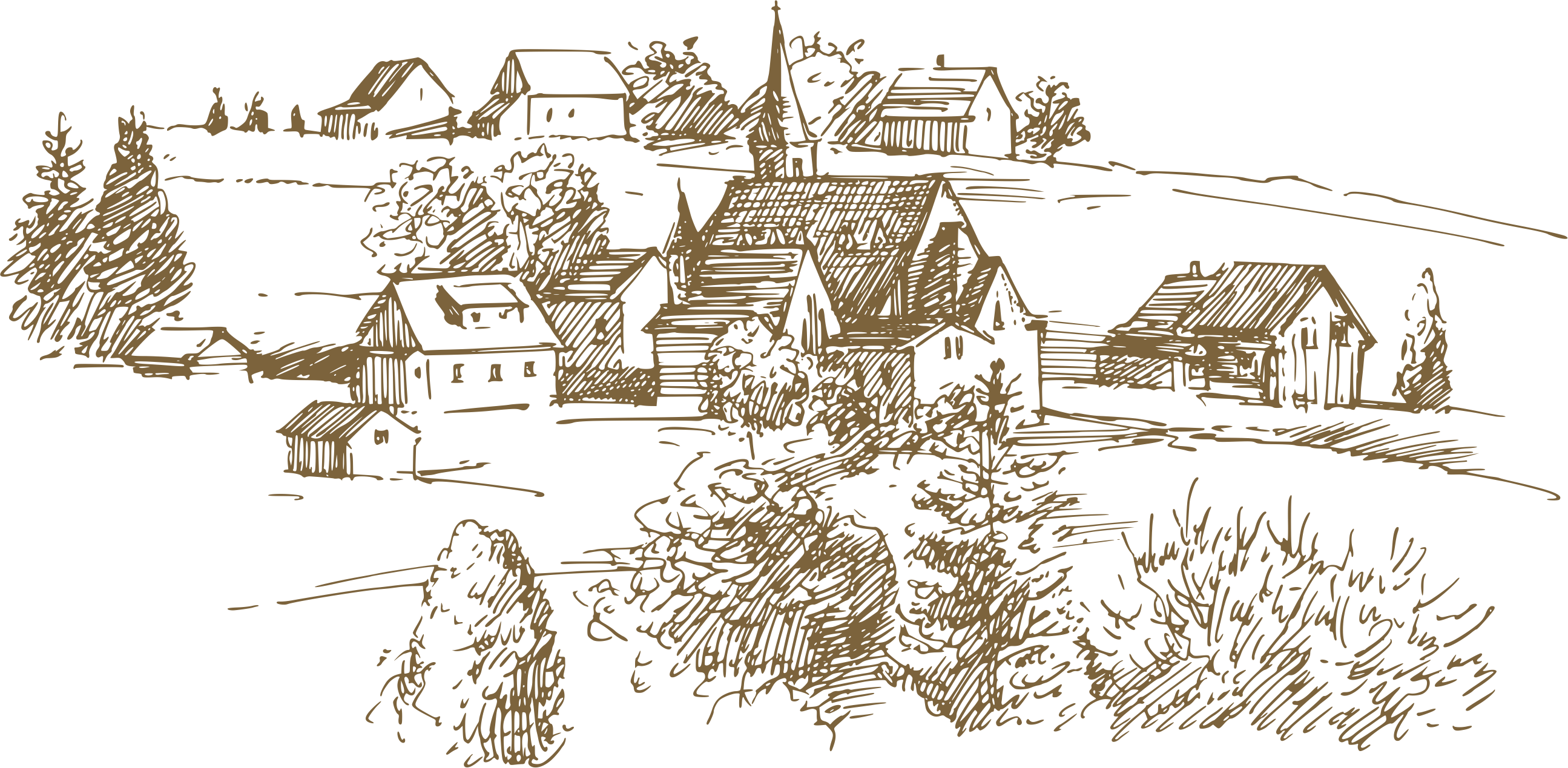 Shack drawing. Agriculture farm field european