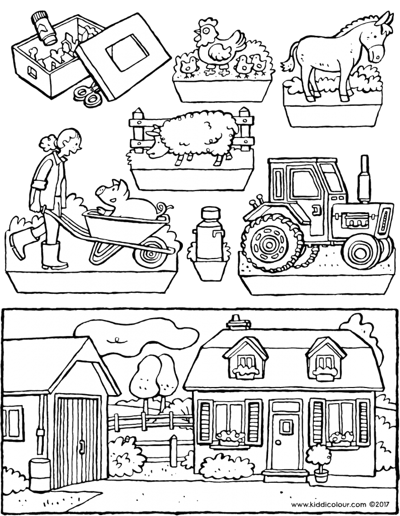 Drawing farmer pitchfork. Dioramas types colouring pages