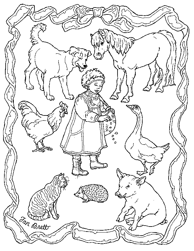 Drawing farm. Animals printable coloring pages