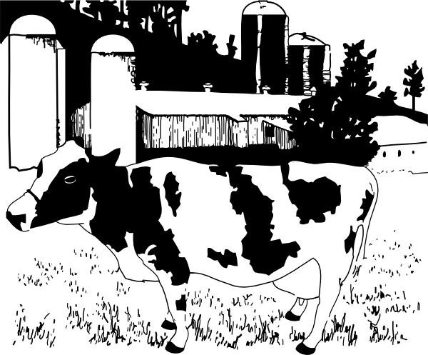 Drawing farmer cow. On farm clip art