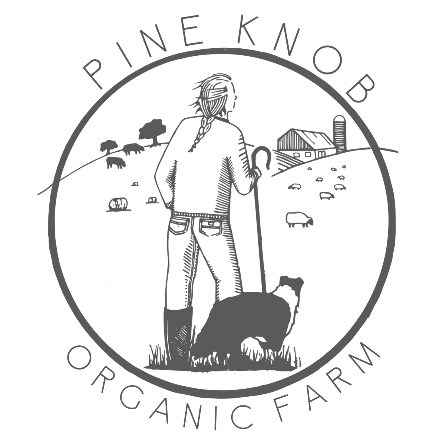 Drawing farmer crop production. Pine knob organic farm