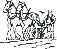 Drawing farmer plough. Horse and plow png