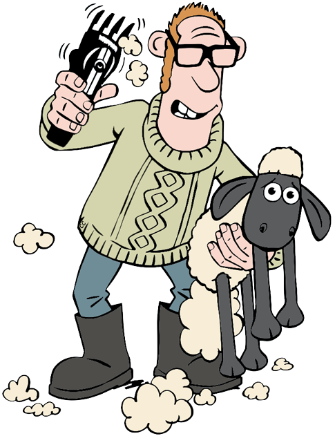 Drawing farmer shaun the sheep. Clipart pencil and in
