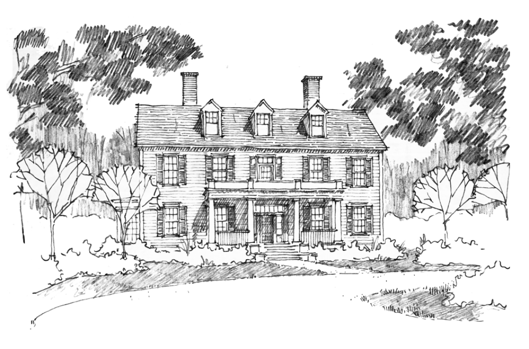 drawing farmhouse vintage house