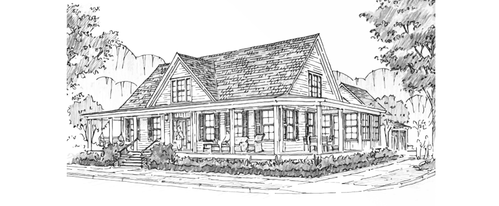 Drawing farmhouse. Historical concepts homes residences
