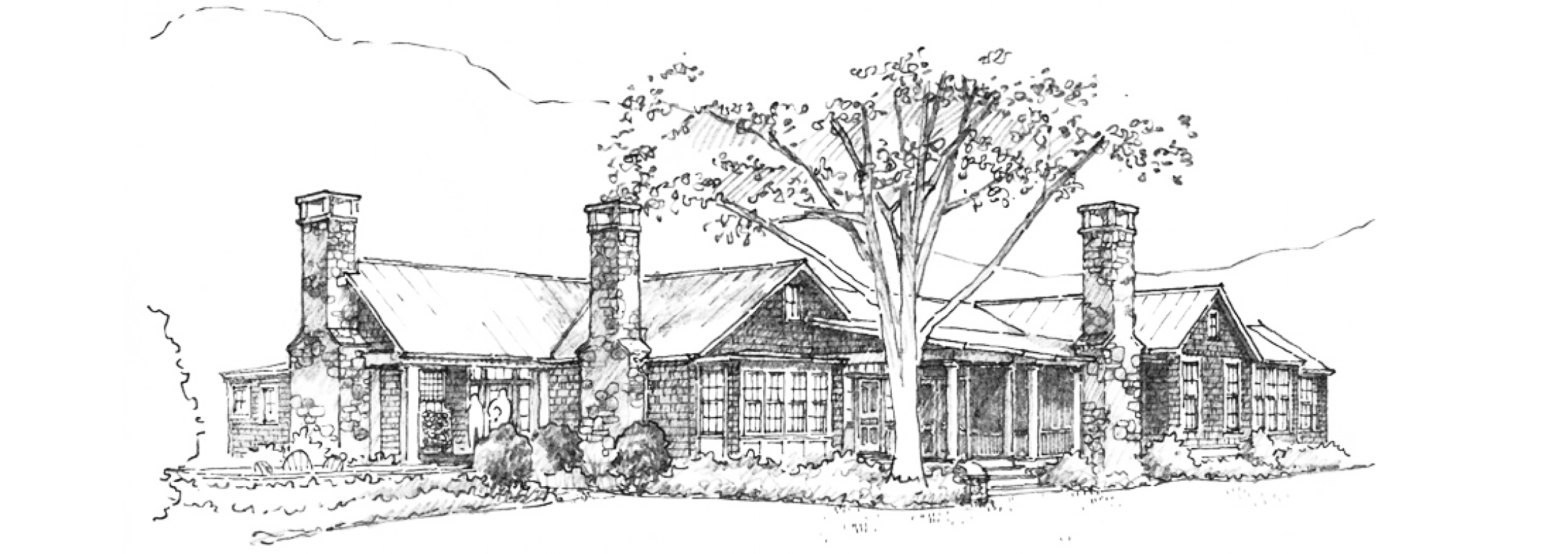 Drawing farmhouse farm field. Historical concepts homes residences