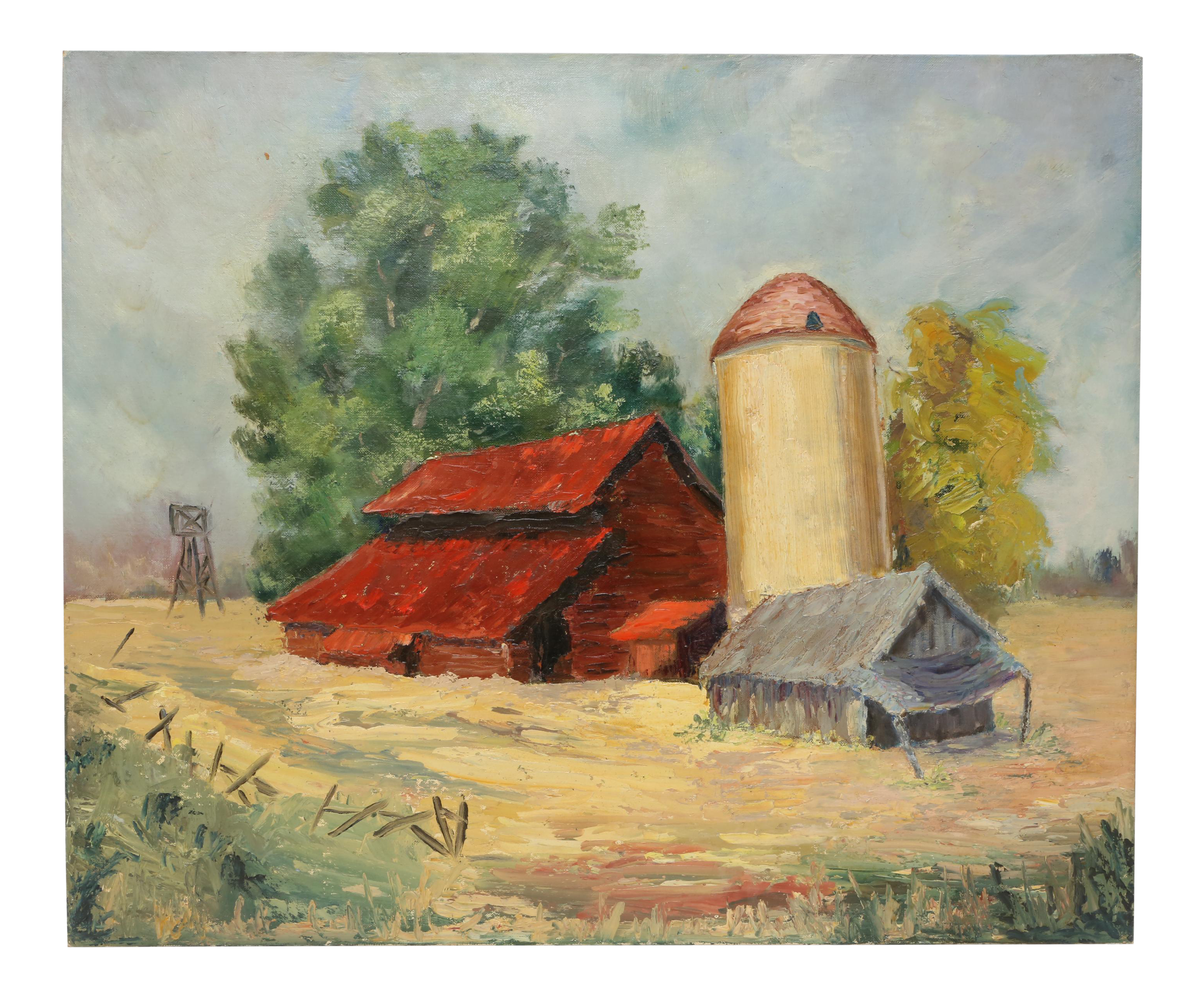 Drawing farmhouse painting. Vintage s oil barn