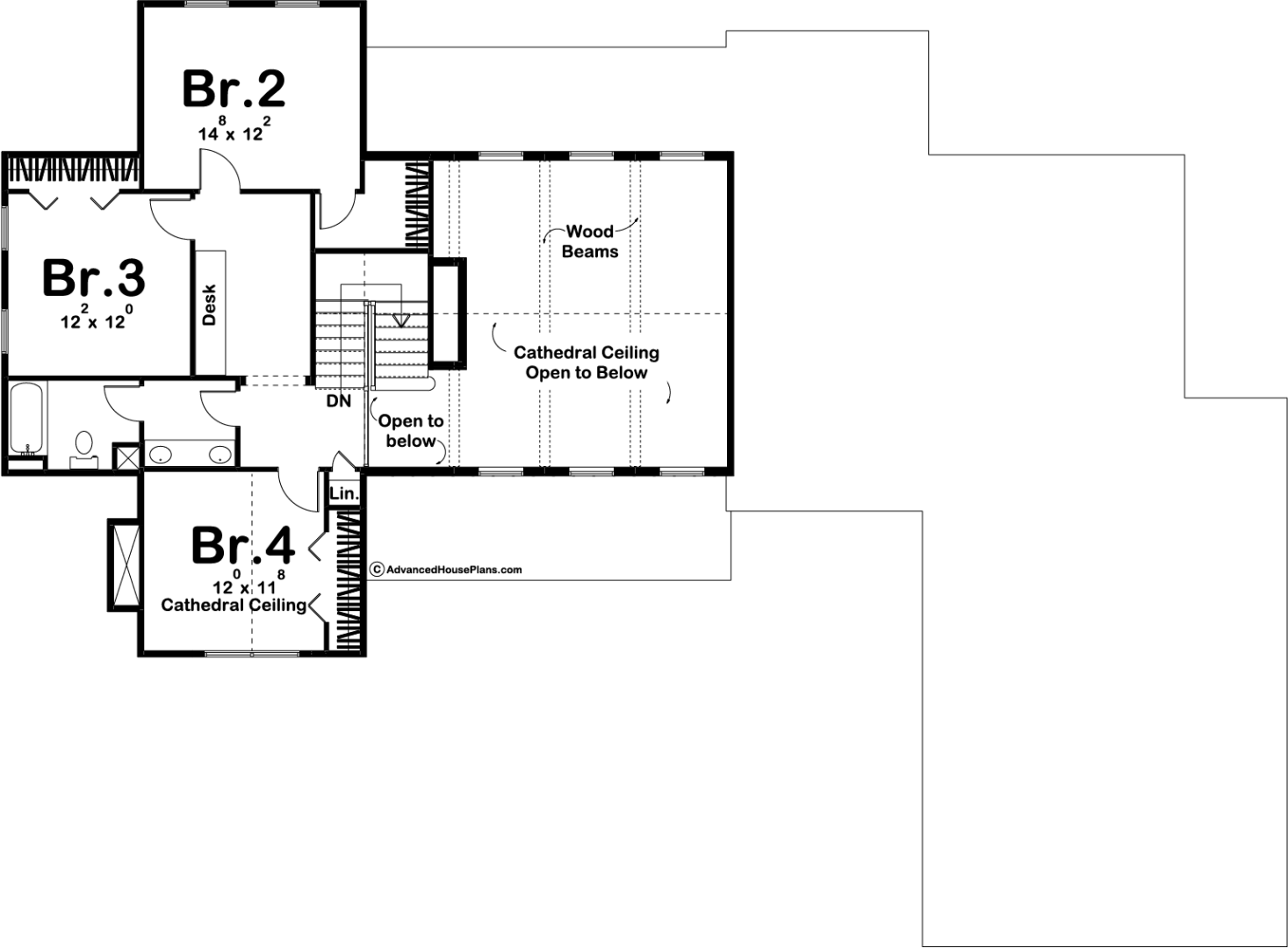 Drawing farmhouse modern house. Rochester and story plan