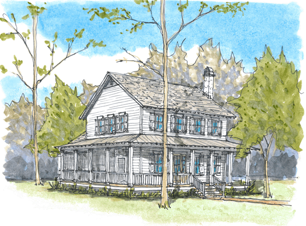 Drawing farmhouse painting. Beaufort