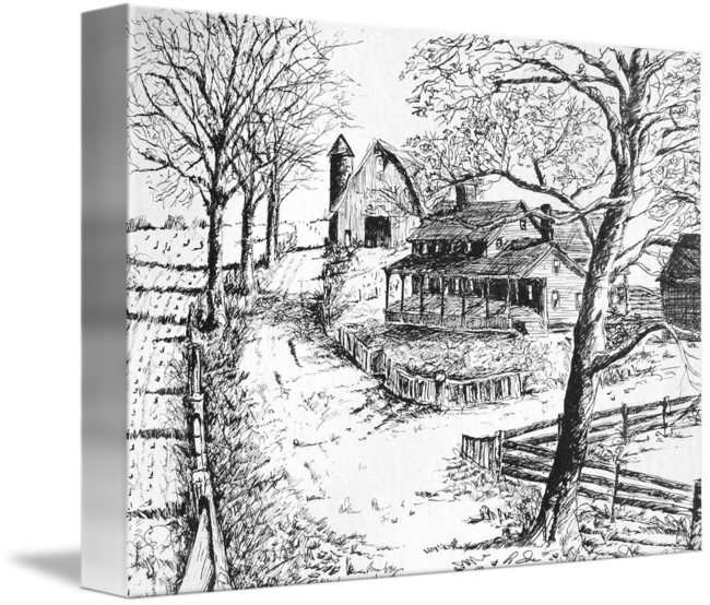 Drawing farmhouse pen and ink. Farm sketch by anne