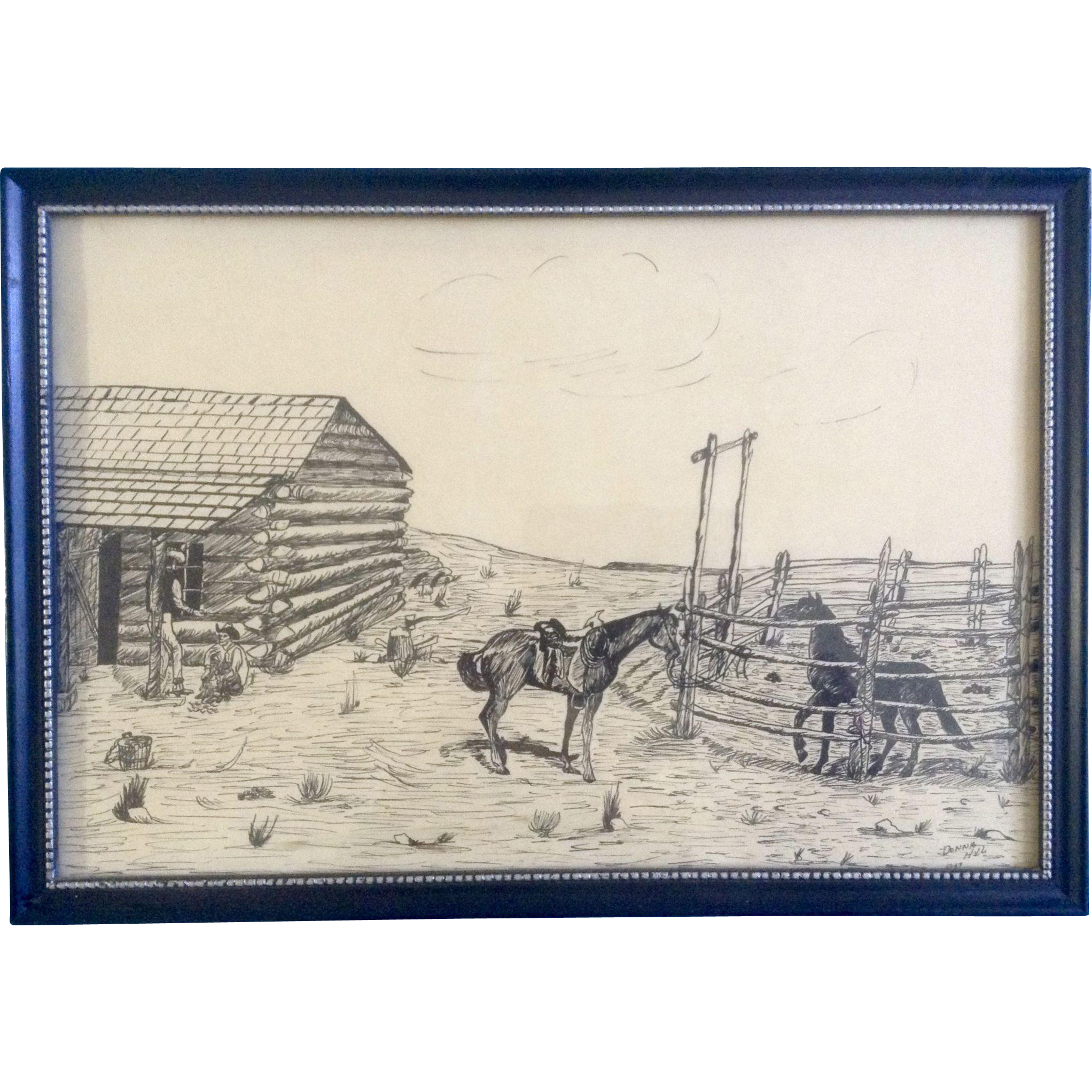Drawing farmhouse pen and ink. Donna hill cowboys horses