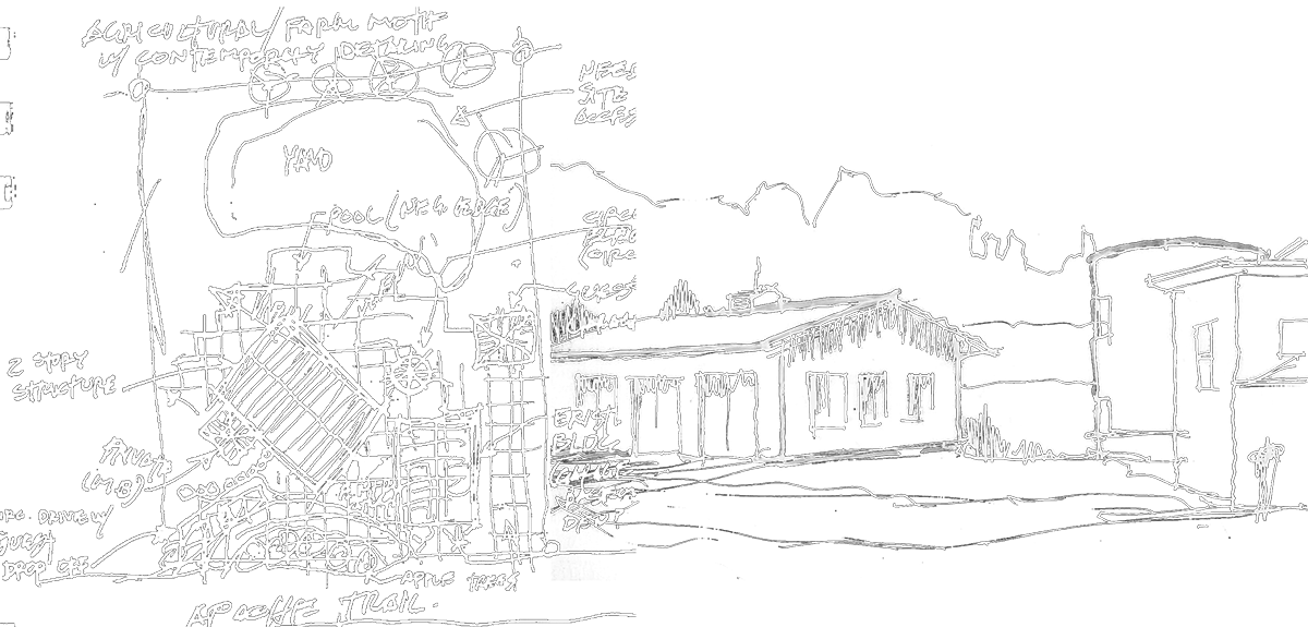 Drawing barns landscape. Residential commercial design architect