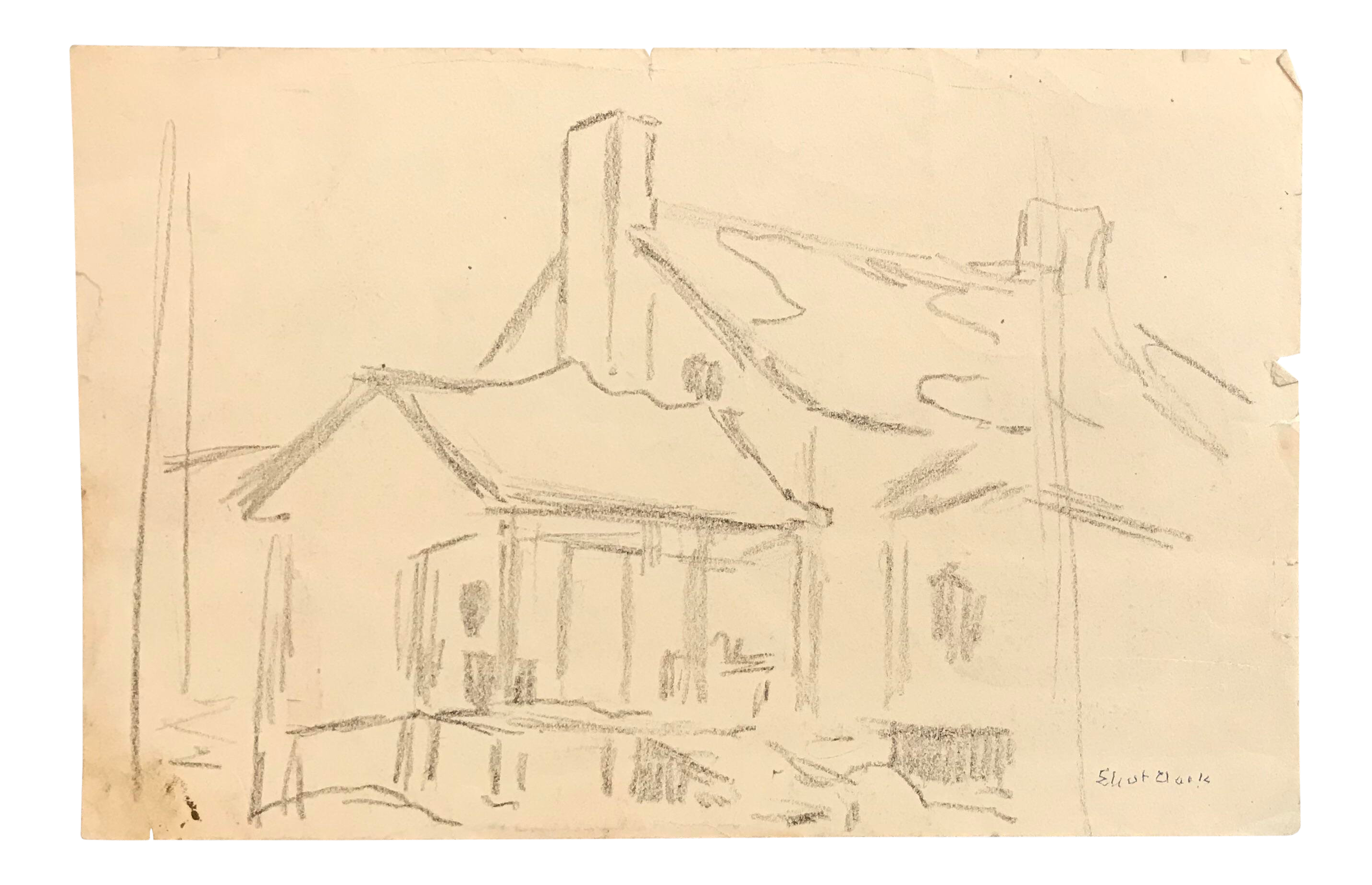 Drawing farmhouse realistic. S americana by
