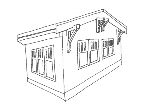 shack drawing cow shed