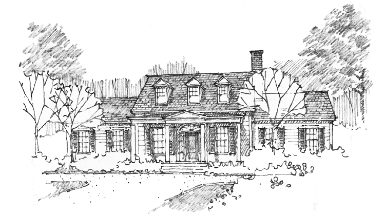 Drawing farmhouse vintage house. Historical concepts homes board