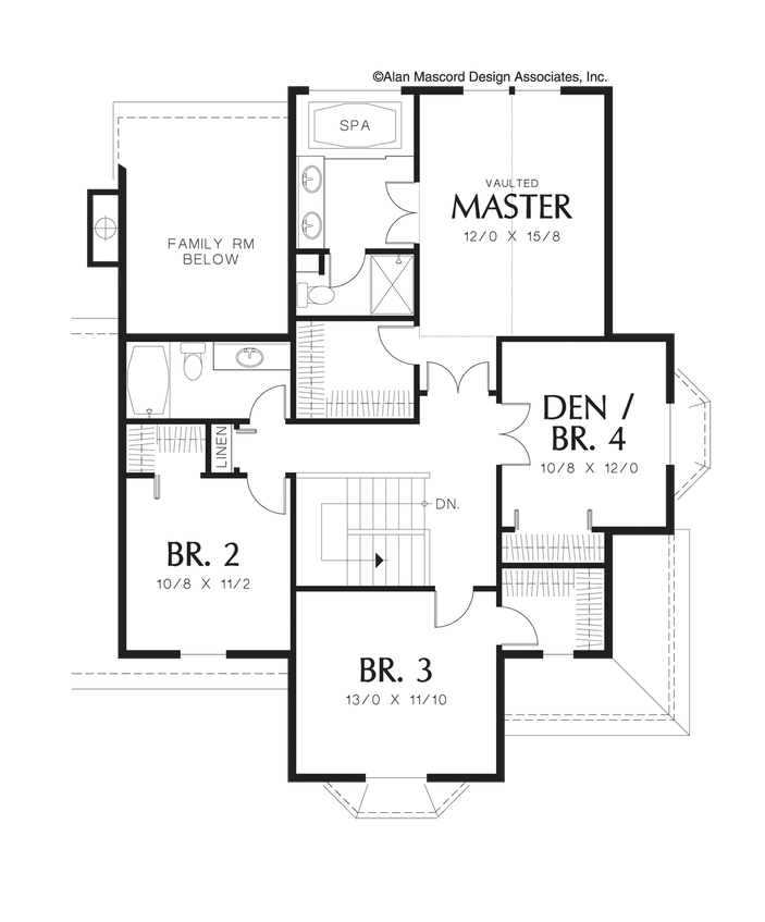 Drawing farmhouse traditional. Upper floor plan of