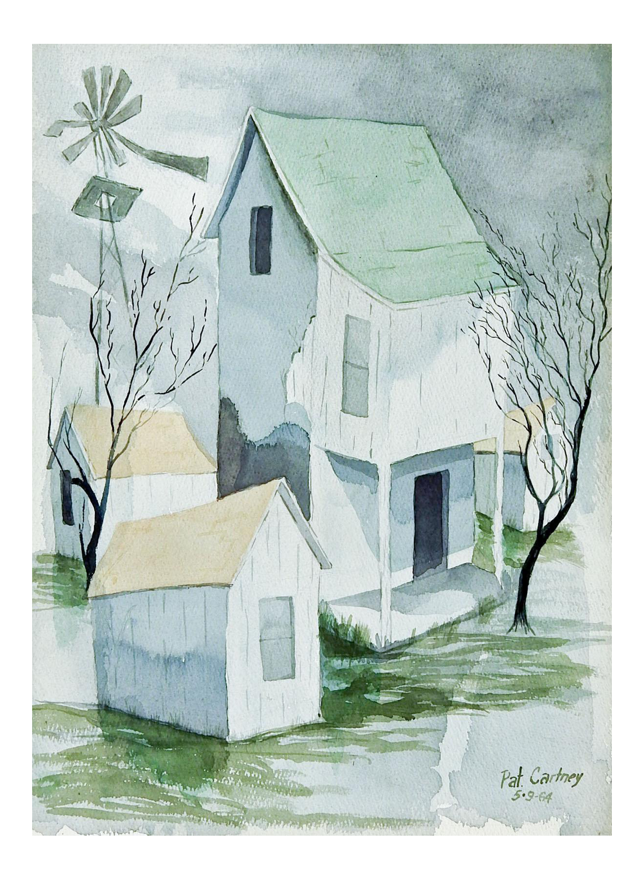 Drawing farmhouse painting. Modernist rustic watercolor chairish