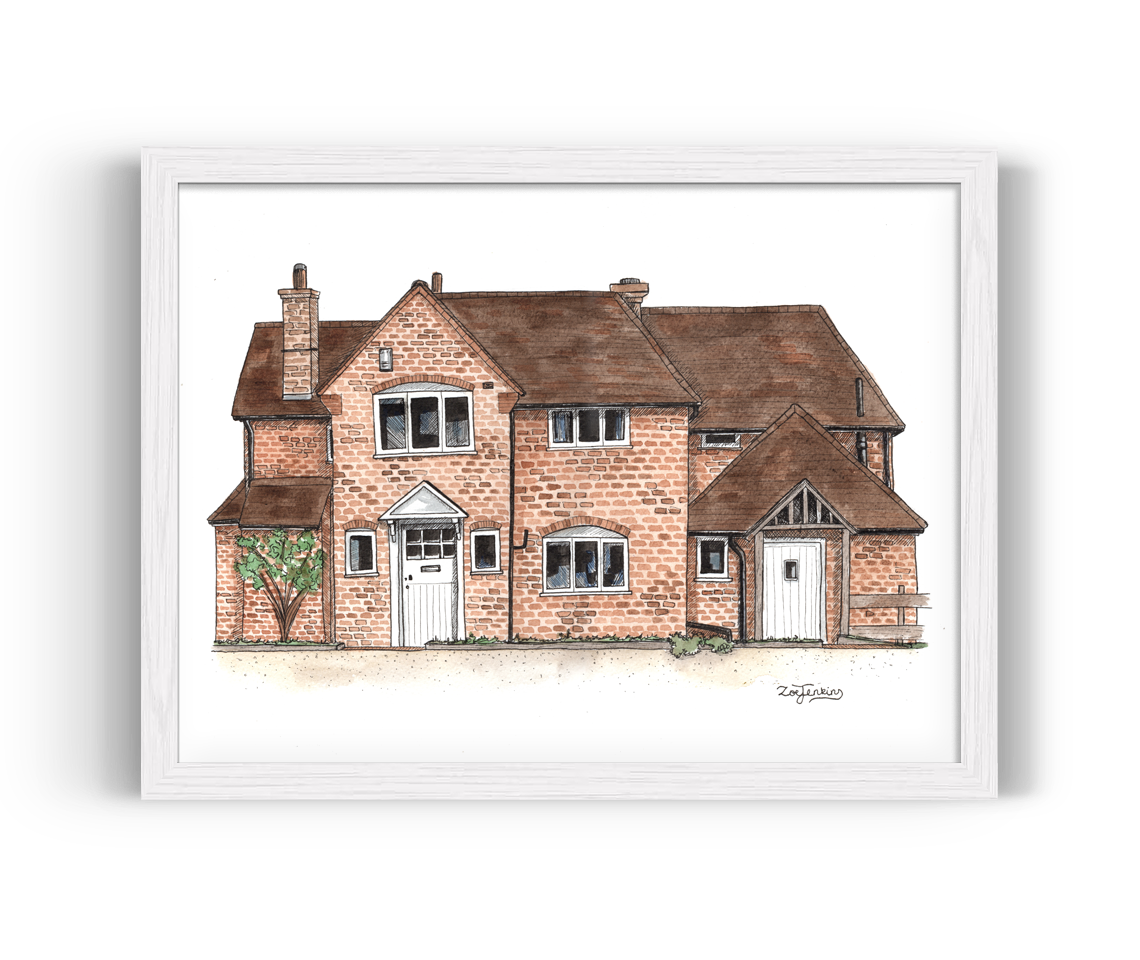 Drawing farmhouse painting. House portraits a personalised