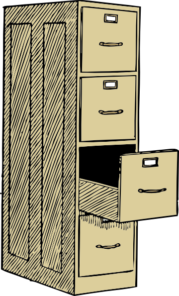 Drawing file filing cabinet. With drawes clip art
