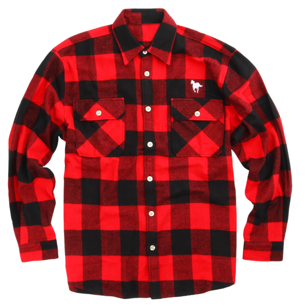 Drawing flannel checked shirt. Pony red button up