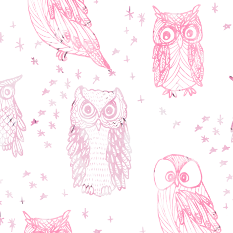 Drawing flannel fabric pattern. Watercolor owl in ombre