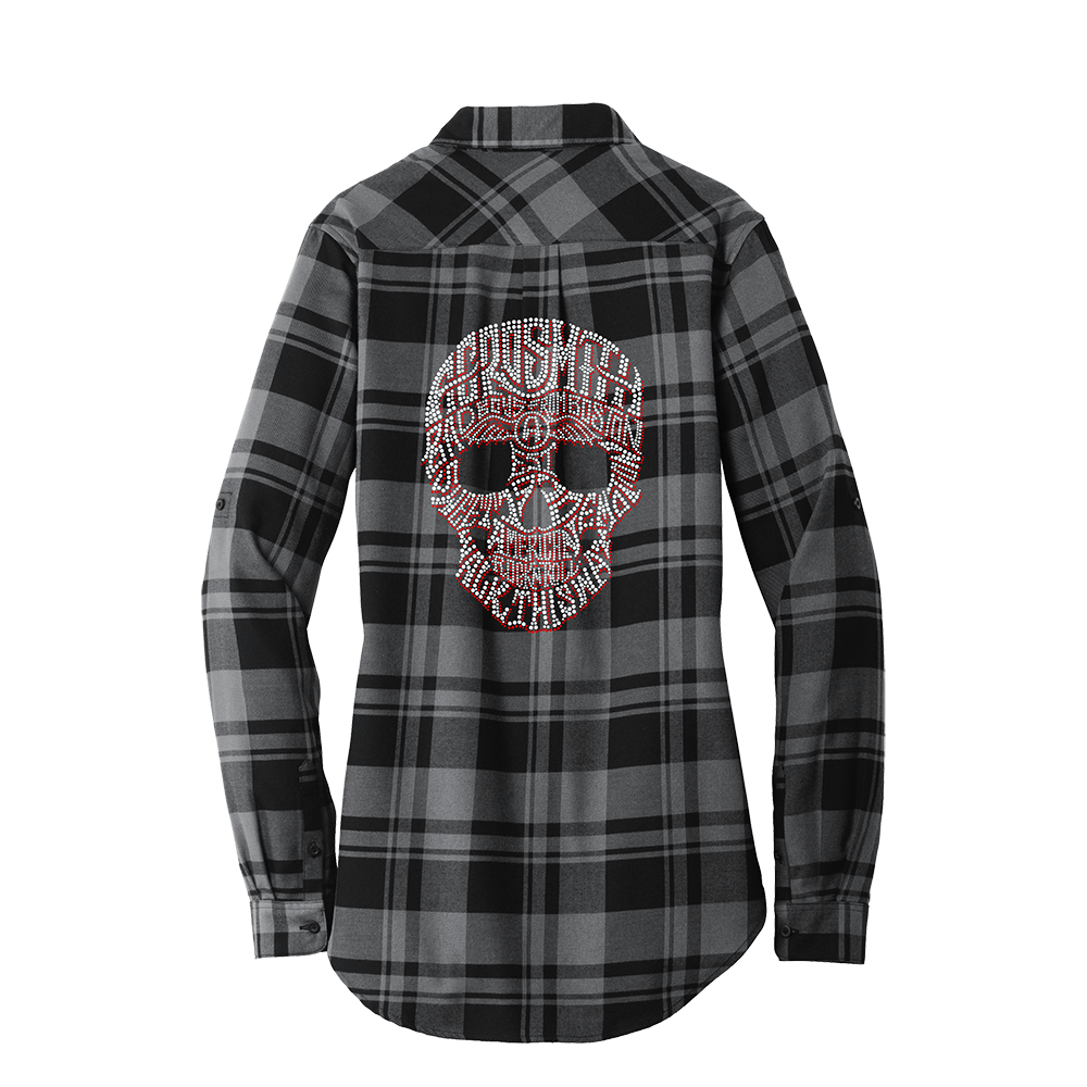 Drawing flannel plaid shirt. Bling skull tunic crystals