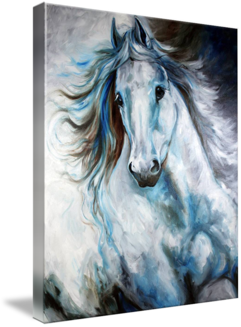 Drawing fluid abstract nature. White thunder arabian equine
