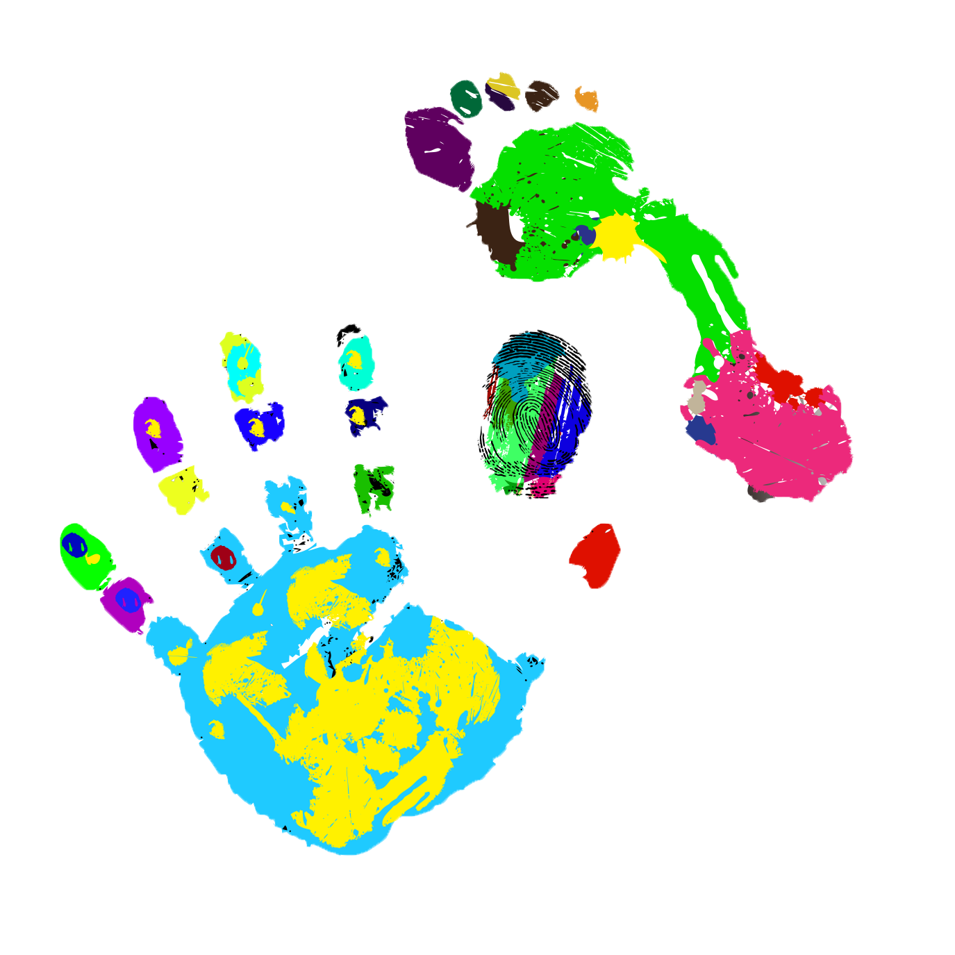 Drawing footprints watercolor. Painting footprint painted handprints