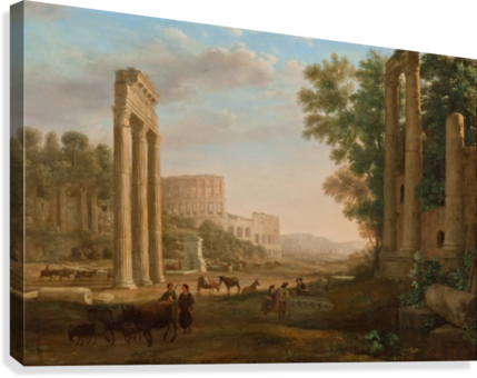 Drawing forum ruins. Capriccio with of the