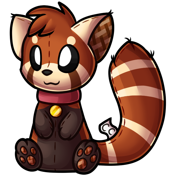 Drawing furry red panda. Collection of high