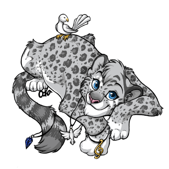 Drawing furry snow leopard. Pretty fursona with doves