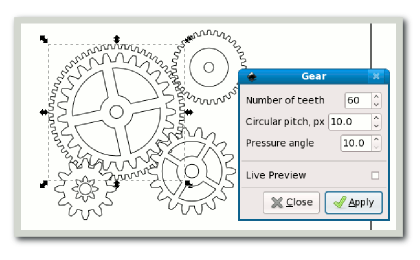 Drawing gear pdf. Gears in inkscape a