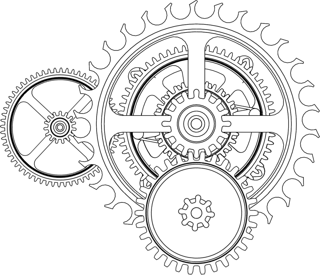 Transparent gear line art. Collection of heart
