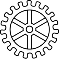 Drawing gear steampunk. Th outline png gears
