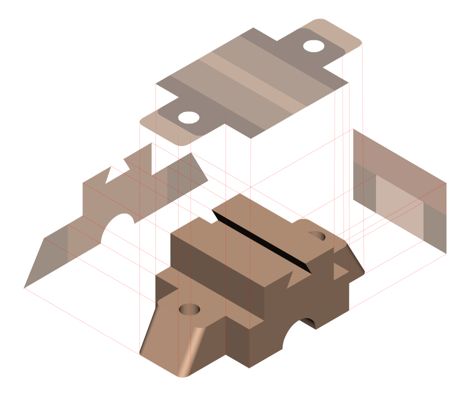 Drawing gears isometric. View orthographic projection engineering