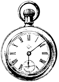 Transparent stopwatch black and white. Pocket watch line art
