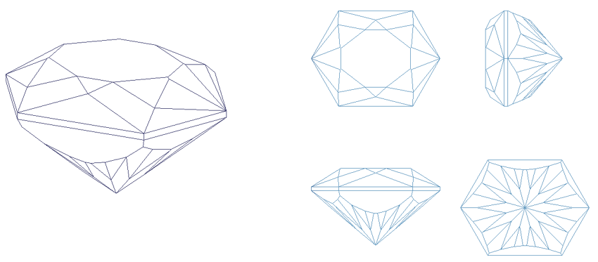 Hexagon drawing illution. Gems for free
